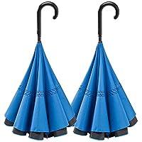 濡れにくい 便利傘 WONDER DRI ワンダードリ 【 ブルー2本セット 】