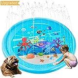 Upgraded Sprinkler Pad Water Spray pad Splash Play Mat 170cm Outdoor Water Toys, Outdoor Splash Pad Sprinkler for Kids