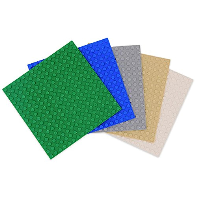 INIBUD 基礎板 ブロック プレート クラシック 互換性 16×16ポッチ 5枚セット グリーン ブルー ライトグレー ベージュ ホワイト