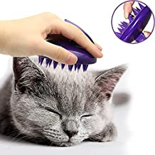 [Soft Silicone Pins] CeleMoon Ultra-Soft Silicone Washable Cat Grooming Shedding Massage/Bath Brush - Safe & No Scratching Any More