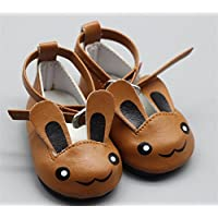 HuaQingPiJu-JP 人形アクセサリーかわいいウサギの靴(ブラウン)