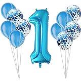 BOBIDYEE バルーンスパンコール組み合わせベビーシャワー1歳の赤ちゃんの誕生日記念日パーティーの装飾。誕生日デコレーションパーティーデコレーション (色 : ブルー, サイズ : A002)