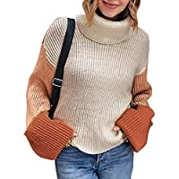 ZESICA Women's Long Sleeve Turtleneck Color Block Oversized Loose Chunky Knitted Pullover Jumper Tops