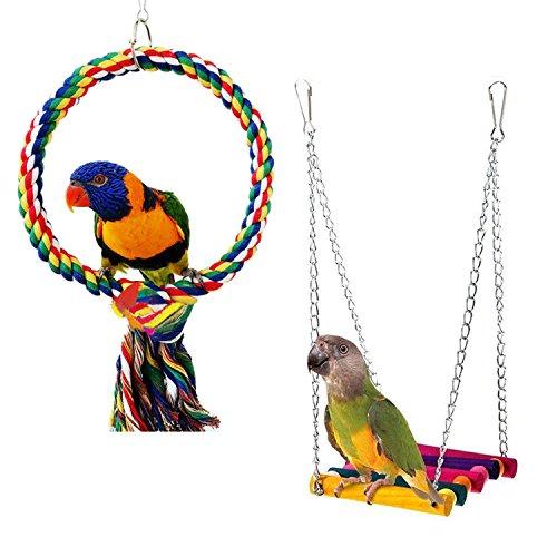 [해외]Rypet 조류 그네 작은 앵무새의 나무 조류 새장 걸려 장난감 (2 팩)/Rypet bird swing little parrot wooden bird cage hanging toy (2 packs)