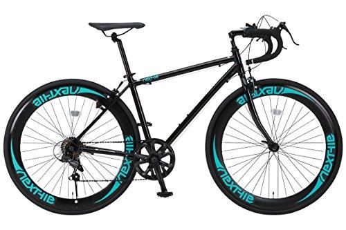 NEXTYLE(ネクスタイル) ロードバイク ロードレーサー 男女兼用(初心者対応 身長160cm以上 サイズ440mm) 7段変速 RNX-7007(ブラック)