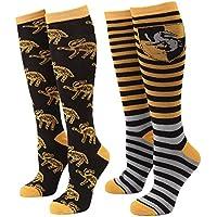 Harry Potter Striped Hufflepuff Badger Women's 2-pack Knee High Socks