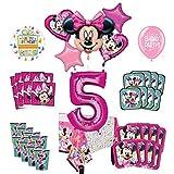 Mayflower Products ミニーマウスとフレンズ 5歳の誕生日パーティー用品 8人のゲストデコレーションキットとバルーンブーケ