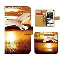 (ティアラ) Tiara AQUOS SERIE mini SHV33 スマホケース 手帳型 ポスター 手帳ケース カバーPHOTO 夕焼け カモメ 海 鳥 E0181020085401