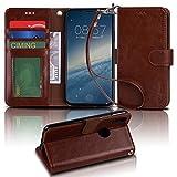 【Arae】 iPhone X ケース 手帳型「 スタンド機能 カードポッケト ストラップ」人気 おしゃれ 落下防止 衝撃吸収 財布型 おすすめ アイフォン X 用 ケース カバー (ブラウン)