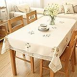 リネンコットン花柄の刺繍レースのテーブルクロスリビングテーブルクロスの家 長方形 130 x 180cm