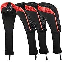 Andux ロングネック ゴルフ ハイブリッド クラブヘッドカバー 交換可能な番号タグ付き 4個セット