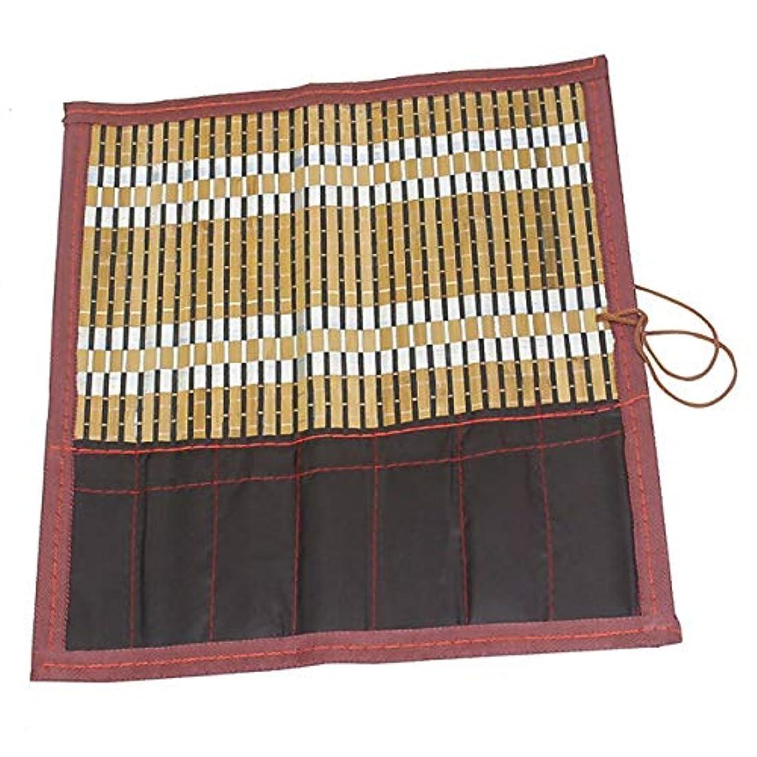 適合しましたマーカー真っ逆さま竹製 筆巻き ポケット付き書道