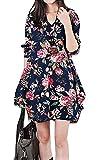 (サコイユ) sakoiyu チュニック ワンピース レディース 花柄 フラワー 長袖 大きいサイズ 春 ゆったり 秋 カジュアル きれいめ 40代 50代 ゆるふわ 女性 女の子 婦人 紺 結婚式 ドルマン スカート トップス (XXXL, ネイビー)
