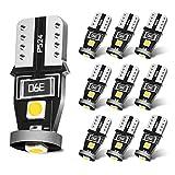 SEALIGHT T10 LED ホワイト 高輝度 キャンセラー内蔵 ポジションランプ ナンバー灯 ルームランプ 3030LEDチップ搭載 12V 2W 10個入