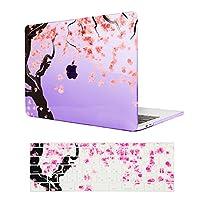 【MacBook Pro 13 No Retina ケース】-Pro 13インチ専用クリスタルハードケース 美しい桜図案付きむらさき保護カバー (M403-10)