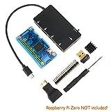 ラズパイ・ゼロ初心者向けセット for Raspberry Pi Zero 7点セット アクリル製ケース+Mini HDMI to HDMI アダプター+WIFI アダプター+40ピン オス GPIO ヘッダー+Mirco USB OTG チャージ・ハブ +スクリュードライバー+アルミ製ヒートシンク (ブルー)[ラズパイ・ゼロ本体は付きおりません][このケースはfor Raspberry PI Zero Wirelessに適用ではありません?]