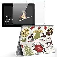 Surface go 専用スキンシール ガラスフィルム セット サーフェス go カバー ケース フィルム ステッカー アクセサリー 保護 クリスマス 動物 鳥 009276