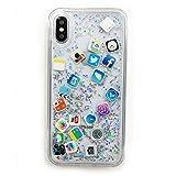 iPhone XR スマホケース キラキラ ラメ アイコン icon APP ホーム画面風 グリッター Gritter (SILVER)