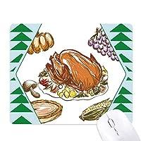 トルコのブドウの感謝祭の日のパターン オフィスグリーン松のゴムマウスパッド
