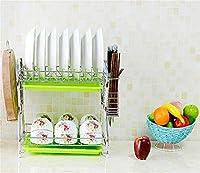 キッチン用品皿ラック棚ステンレス鋼ダブルドレイン乾燥水皿棚皿ラック箸で皿ラック食器棚はチョッピングボードを入れることができます