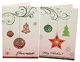 クリスマスカード 2つ折り 8枚組 セット Xmasグリーティングカード(中紙付き)
