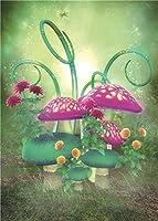 daniuグリーンファンタジーのベビーフォトスタジオ小道具写真撮影の背景幕ビニールレッド背景Mushroom 5x 7ft bj265