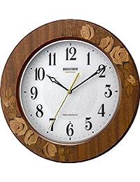 リズム時計 掛け時計 電波 アナログ アマービレM520 【 日本製 】 連続秒針 木 茶 (日本製象嵌仕上) RHYTHM 8MY520SR06