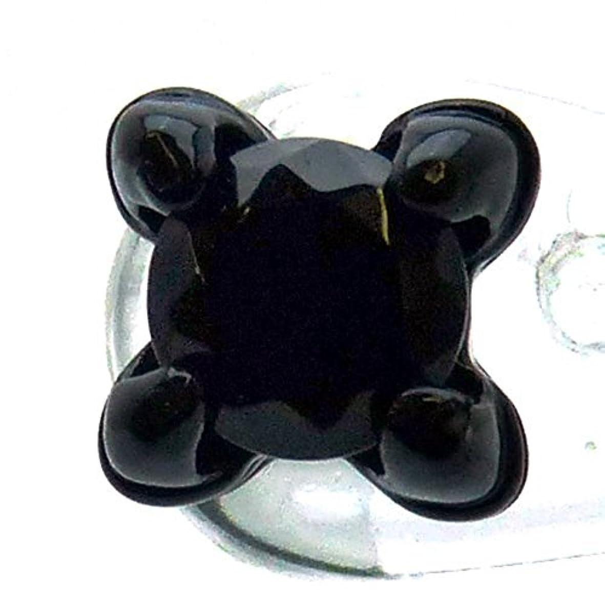 幻想ハンマートランク[ソリッド]solid 大粒ブリリアンカット キラキラ輝く煌きGlassストーン 大爪 ブラックカラー スタッド ピアス メンズ