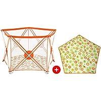 ポータブルベビープレイペンターキッズアクティビティセンター安全プレイヤードオレンジ5パネルスペース屋内屋外 (色 : Playpen+mat)