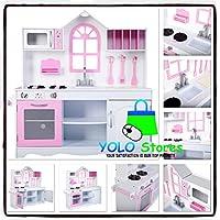 木製キッチンPretend Play Toy Kids Cooking幼児用おもちゃ子供用ガールズロールウッドセットby YOLO Stores