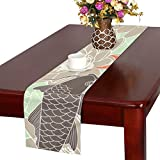LKCDNG テーブルランナー 美しい 和風のコイ クロス 食卓カバー 麻綿製 欧米 おしゃれ 16 Inch X 72 Inch (40cm X 182cm) キッチン ダイニング ホーム デコレーション モダン リビング 洗える