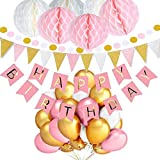 Birthday Decorations for Girls TopDeko Happy Birthday Bunting Banner with 6PCS Honeycomb Balls 9.8 Feet Triangle Flags Banner 30pcs Star String Paper Garland 30pcs Pearl Balloons - Pink [並行輸入品]