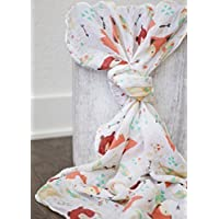 100% Organic Muslin Swaddle Blanket by ADDISON BELLE - Oversized 47 inches x 47 inches - Best Baby Shower Gift - Premium Receiving Blanket (Fox & Bear Print) by ADDISON BELLE