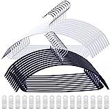 VEHHE ハンガー すべらない 物干しハンガー 洗濯 収納ハンガー 跡がつかない 多機能ハンガー タオル バスタオル ハンガー 人体ハンガー 20本組 型崩れ防止 スリムハンガー 乾湿両用 幅42cm 黒白