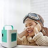 USB充電式卓上冷風機ミニエアコン 省エネ扇風機 風量3段階切り替え加湿機能搭載 長時間連続動作 熱中症対策オフェンス 自宅 旅行用