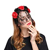 Aiernuo Sexy Lace Veil Flowers Headband for Birthday Party Halloween Cosplay Costume Party Head Band [並行輸入品]