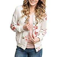 SakuraBest Womens Floral Print Top Coat Outwear Sweatshirt Zipper Jacket