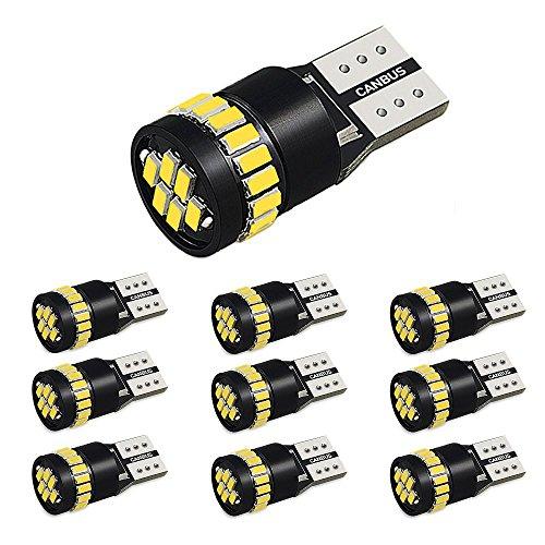 AUXITO T10 LED ホワイト 爆光 10個 ポジションランプ led キャンセラー内蔵 2W 24個3014LED素子 30000時間寿命 12V LED 白 ルームランプ/ナンバー灯 1年保証