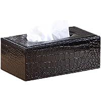 PUレザー 革調 ティッシュケース 室内 車内 用 ティッシュ ボックス シンプル チリ紙 入れ カバー 車 (黒・ワニ革調)