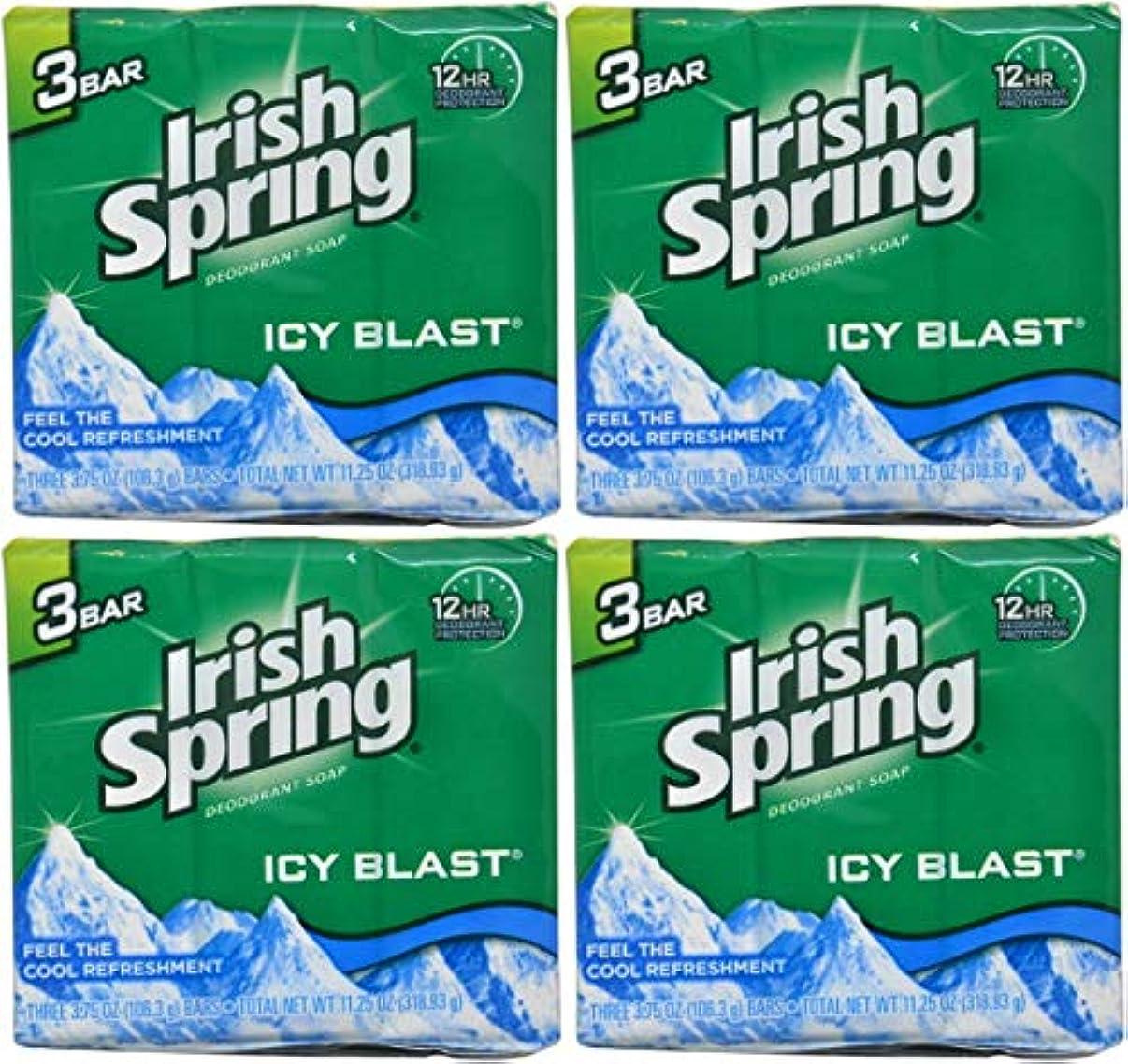 手伝うレプリカ不正直Irish Spring バースバー、アイシーブラスト3.75オズ、3小節の12カウント4Pack