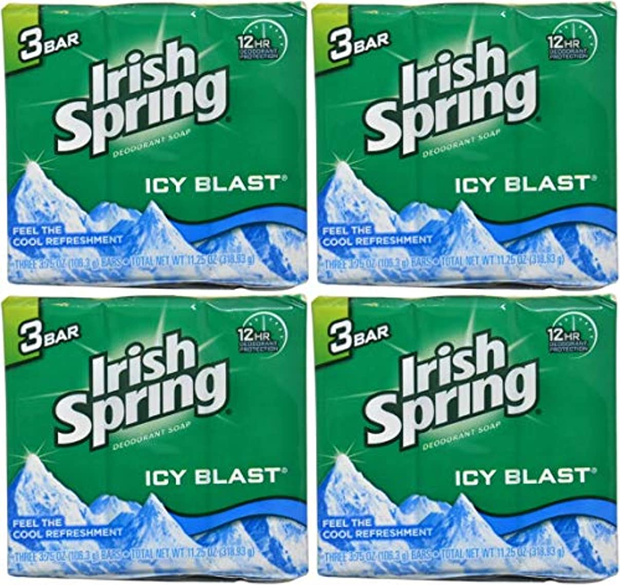 鳥衰える続編Irish Spring バースバー、アイシーブラスト3.75オズ、3小節の12カウント4Pack