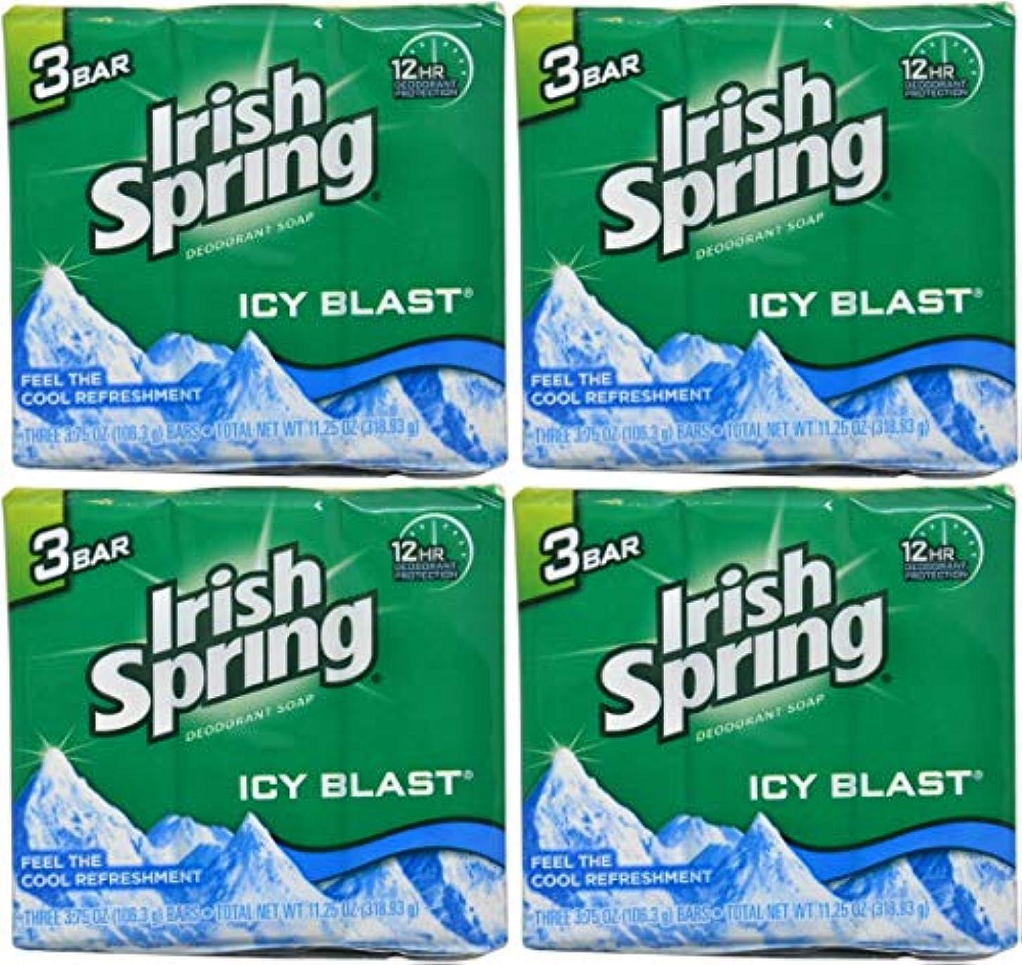 グリース強制項目Irish Spring バースバー、アイシーブラスト3.75オズ、3小節の12カウント4Pack