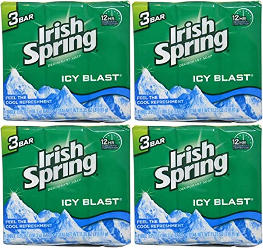 Irish Spring バースバー、アイシーブラスト3.75オズ、3小節の12カウント4Pack