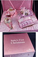 4-Piece Pink Baby's First Christmas Girl Glass Ornament Boxed Gift Set by KSA