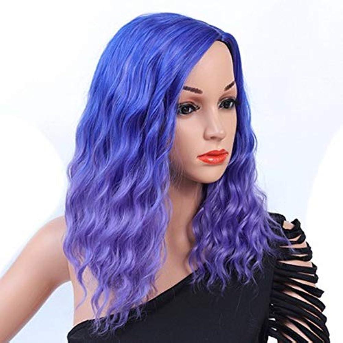 マラソン結果解決する女性のための色のかつら長いウェーブのかかった髪、高密度温度合成かつら女性のグルーレスウェーブのかかったコスプレヘアウィッグ、女性のための耐熱繊維の髪のかつら、青いウィッグ18インチ