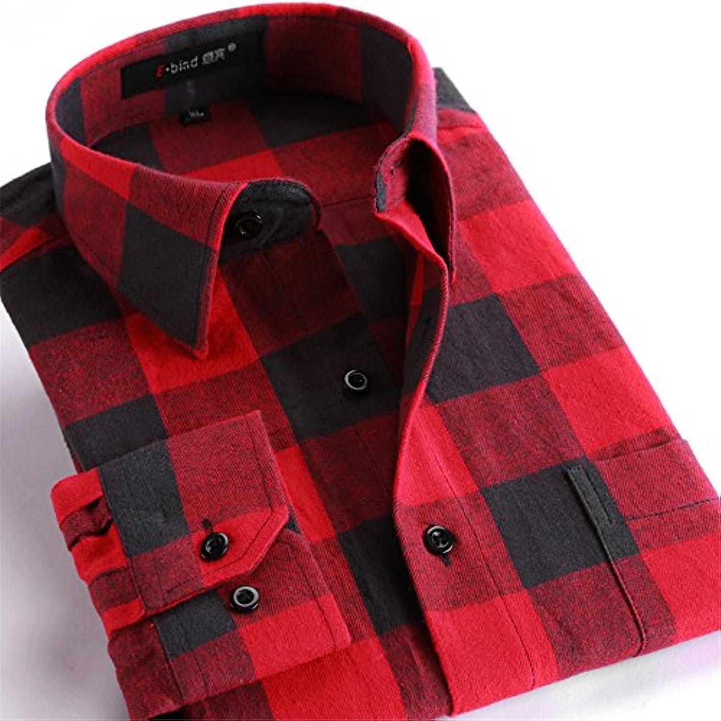 付添人やる評価するAiGo メンズ 長袖 メンズシャツ カジュアル tシャツ 格子縞 カラー Yシャツ 通勤 通学 ワイシャツ 開襟シャツ 紳士 男性 シャツ レギュラーシャツ (XXXXL, Type4) [並行輸入品]