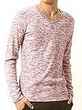 (アーケード) ARCADE ロングTシャツ ランダムテレコ 杢 フィットデザイン 針抜き Vネック ロンT メンズ 長袖 M ミックスレッド
