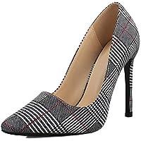 OUTDOOWALS Women's High Heel Dress Pump Slip-On Pointed Toe Stilettos