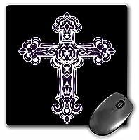 3drose LLC 8x 8x 0.25インチマウスパッド、パープル、ホワイト装飾宗教クロス( MP _ 78345_ 1)