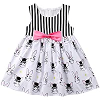 Hotwon Baby Girls Sleeveless Rabbit Dress Striped Girl Dress Baby Kids Girl Bowknot Party Dress Summer Outfits Clothes
